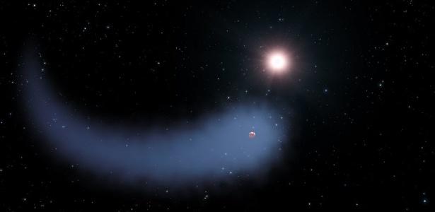 Astrônomos descobriram uma imensa nuvem de hidrogênio ao redor do planeta Gliese 436b, em órbita com uma estrela próxima. A enorme cauda gasosa do planeta é cerca de 50 vezes o tamanho da estrela-mãe