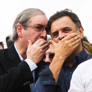 Aécio e Cunha durante evento de 1º de Maio, em 2015