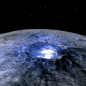 9.dez.2015 - Astrônomos começaram a solucionar os misteriosos pontos brilhantes do planeta anão Ceres. As fotos tiradas pela sonda Dawn desde o ano passado mostraram trechos iluminados no planeta que intrigaram a comunidade científica. As primeiras pistas encontradas pela equipe é que há traços de evaporação de água na cratera iluminada e que os sinais brilhantes não têm ligação com vida alienígena - os pontos luminosos seriam contraste da escura superfície do planeta - Nasa