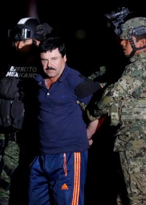 "O narcotraficante Joaquin Guzmán, mais conhecido como ""El Chapo"", foi recapturado no início do ano"