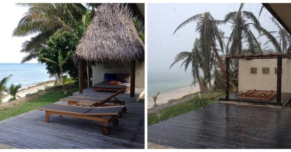 21.fev.2016 - Combinação de imagens mostra um resort em Fiji, antes e depois da passagem do ciclone Winston, que chegou no sábado com ventos de 230 km/h e rajadas de 325 km/h. O fenômeno causou pelo menos cinco mortes e muita destruição