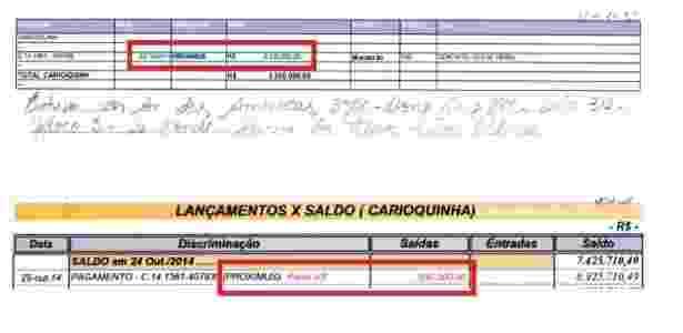 Planilha indica pagamento de 5 parcelas de R$ 500 mil a Proximus, apelido de Cabral - Reprodução