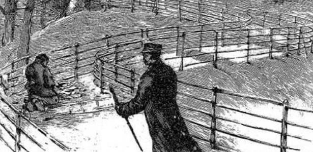 Ilustração representa o momento em que Martial Bourdin encontrado após bomba explodir perto do Observatório de Greenwich em 1894