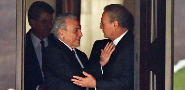 O vice-presidente da República, Michel Temer (PMDB), se encontra com o presidente do Senado, Renan Calheiros (PMDB-AL)