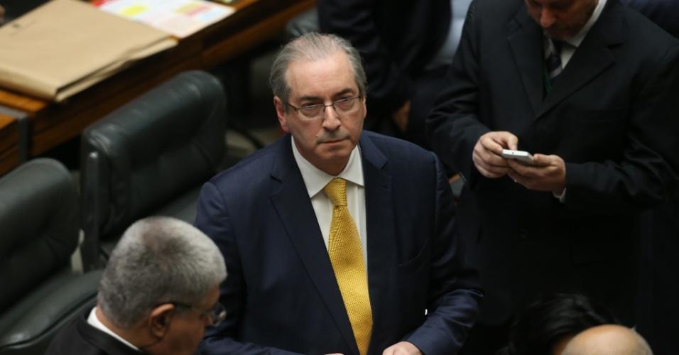 12.set.2016 - O deputado afastado Eduardo Cunha (PMDB-RJ) participa de sessão no plenário da Câmara dos Deputados, em Brasília, que vota a cassação do seu mandato