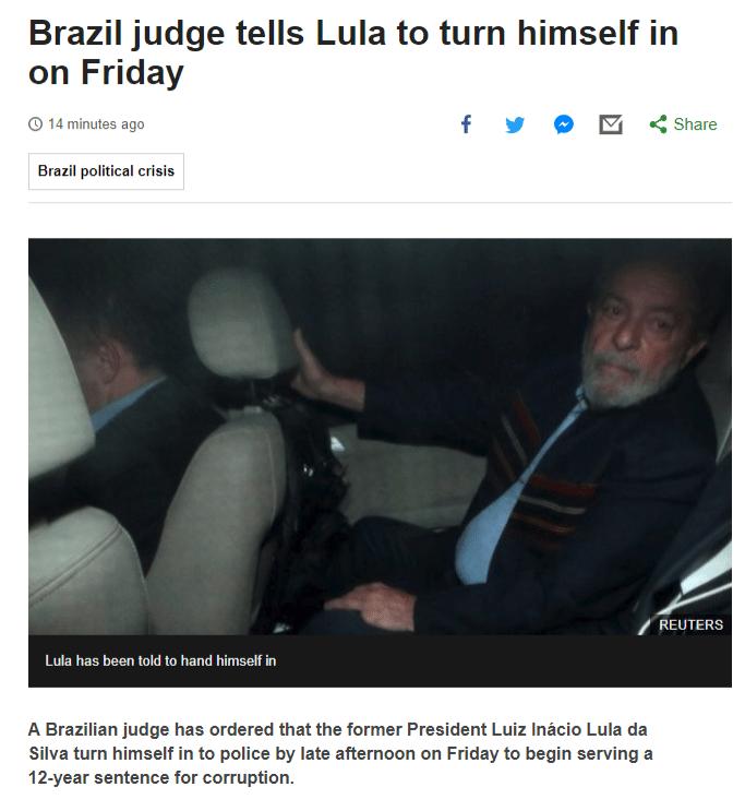 BBC noticia mandado de prisão de Lula