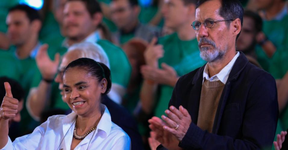 4.ago.2018 - Ao lado de Eduardo Jorge, seu candidato a vice, a ex-senadora Marina Silva foi oficializada como candidata à Presidência pela Rede