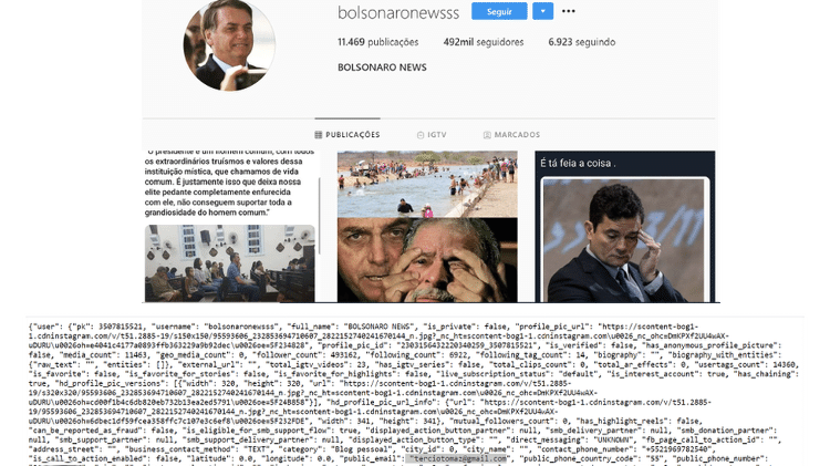 Código fonte mostra e-mail de Tercio Arnaud Tomaz ligado a página Bolsonaro Newsss no Instagram - Instagram/Atlantic Council Digital Forensic Research - Instagram/Atlantic Council Digital Forensic Research