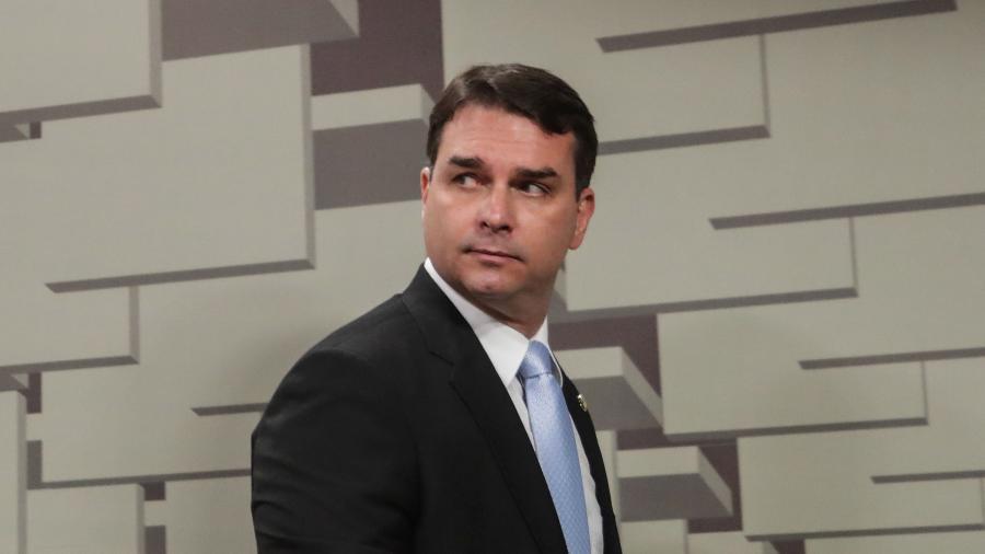"""O senador Flávio Bolsonaro (Republicanos-RJ) nega as acusações do MP e a existência de um esquema de """"rachadinha"""" na Alerj - Gabriela Biló/Estadão Conteúdo"""