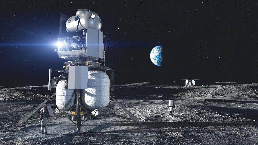 Concepção artística de aeronave da Blue Origin, de Jeff Bezos, na Lua - Divulgação