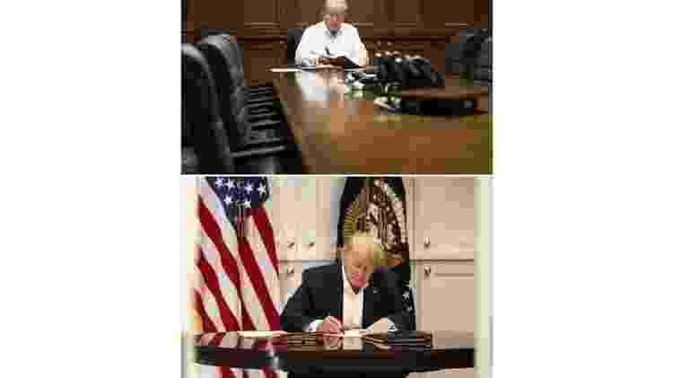 Duas fotos de Trump no hospital militar em que foi internado com covid-19 - EPA/Joyce N Boghosia/The White House - EPA/Joyce N Boghosia/The White House