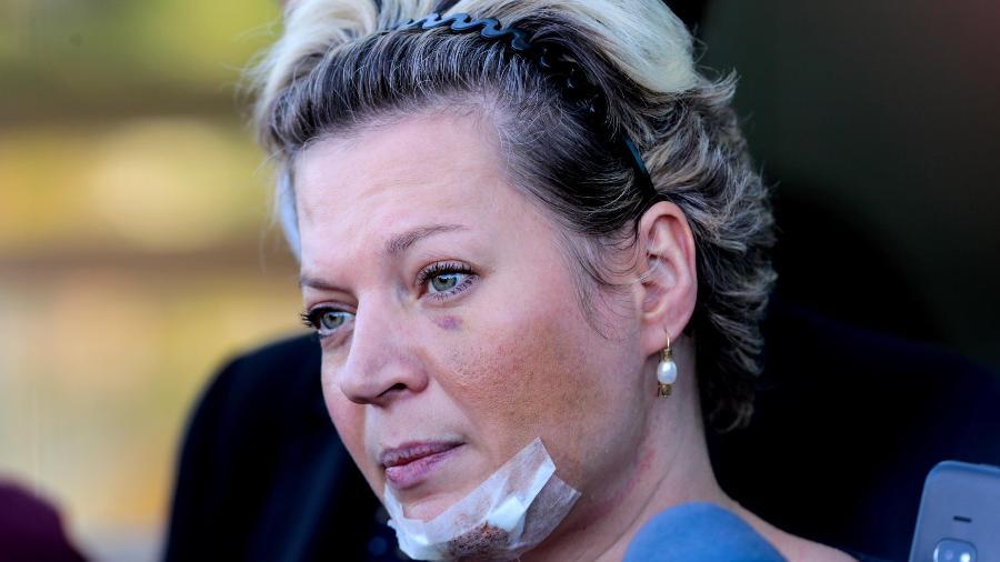 A deputada Joice Hasselmann (PSL-SP) após prestar depoimento à Polícia Civil do Distrito Federal  - WALLACE MARTINS/FUTURA PRESS//ESTADÃO CONTEÚDO
