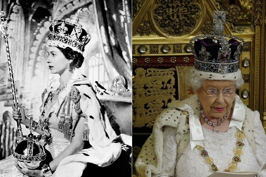 Se tem uma pessoa que com certeza viu os anos passarem depressa no cargo, é a toda poderosa rainha. Elizabeth II assumiu o posto máximo do Reino Unido em 1953, com apenas 27 anos. Ou seja, já está há mais de 60 anos no cargo ? fará 90 anos de idade ainda este ano. Não tinha como ser diferente esta transformação absurda, né?