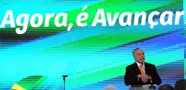 9.nov.2017 - O presidente Michel Temer durante o lançamento da nova versão do Projeto Avançar