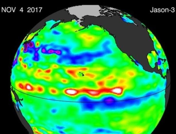 Imagem de satélite mostra que o fenômeno La Niña voltou; meteorologistas dizem que ele está mais fraco - Cortesia de William Patzert