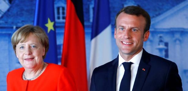 19.jun.2018 - Merkel e Macron durante encontro em Meseberg, na Alemanha - REUTERS/Hannibal Hanschke