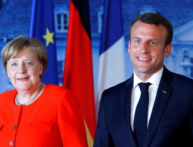 19.jun.2018 - Angela Merkel, chanceler da Alemanha, e Emmanuel Macron, premiê da Franca, durante encontro em Meseberg, na Alemanha - REUTERS/Hannibal Hanschke