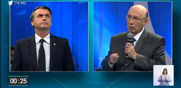 17.ago.2018 - Jair Bolsonaro (PSL) durante debate da RedeTV! no primeiro turno