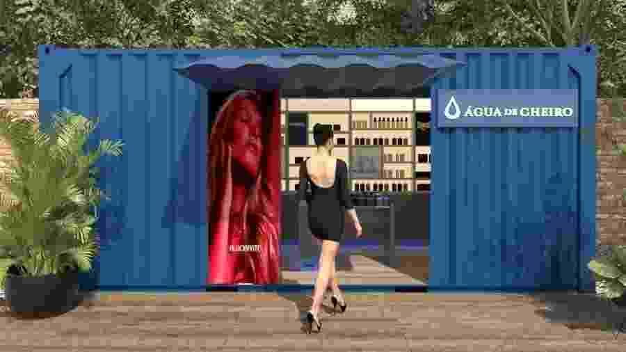 Simulação de uma loja contêiner, novo modelo de negócio da Água de Cheiro - Divulgação