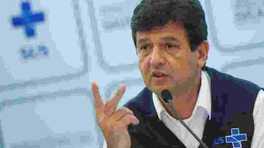 Ministro da Saúde, Luiz Henrique Mandetta, durante entrevista coletiva em Brasília - Adriano Machado