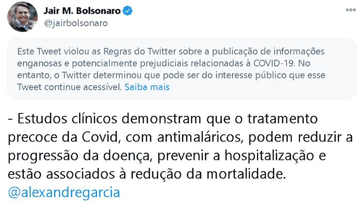 Twitter põe alerta em tweet de Bolsonaro sobre tratamento precoce de covid-19 - Reprodução - Reprodução