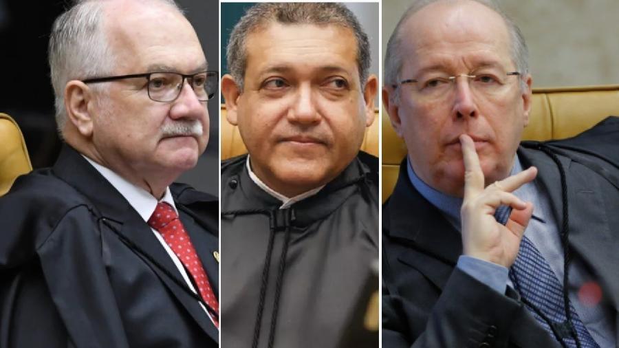 Nunes Marques, ao centro, entre relatores que já examinaram a questão que caiu agora na sua mão. Jurisprudência é clara e inequívoca. Presidente do Senado é soberano para recusar denúncia contra ministros do STF - Carlos Moura/SCO/STF; Felipe Sampaio/SOC/STF; Sergio Lima/Poder 360