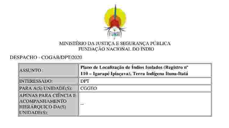 """Trecho de documento da Funai confirma o andamento de um """"plano de localização"""" de indígenas isolados no Pará - Reprodução - Reprodução"""
