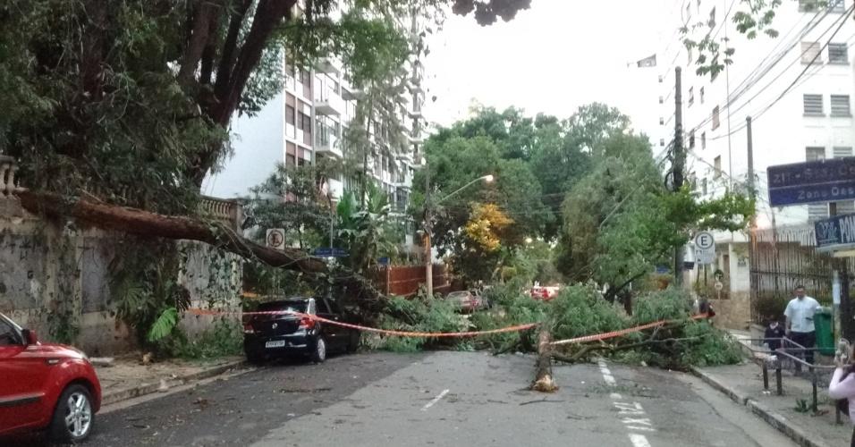 17.mai.2016 - Mais de 12 horas após o temporal que atingiu o Estado de São Paulo, árvores ainda interrompiam o trânsito no bairro de Higienópolis, na região central da cidade de São Paulo.  Vários semáforos permaneciam desligados nas principais avenidas da capital