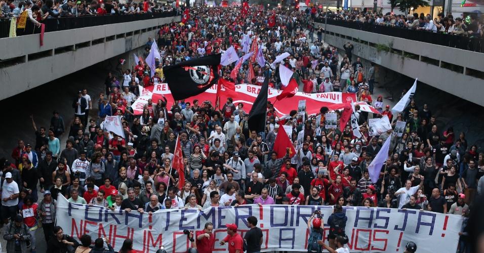 Manifestação na avenida Paulista, em São Paulo, contra o governo de Michel Temer