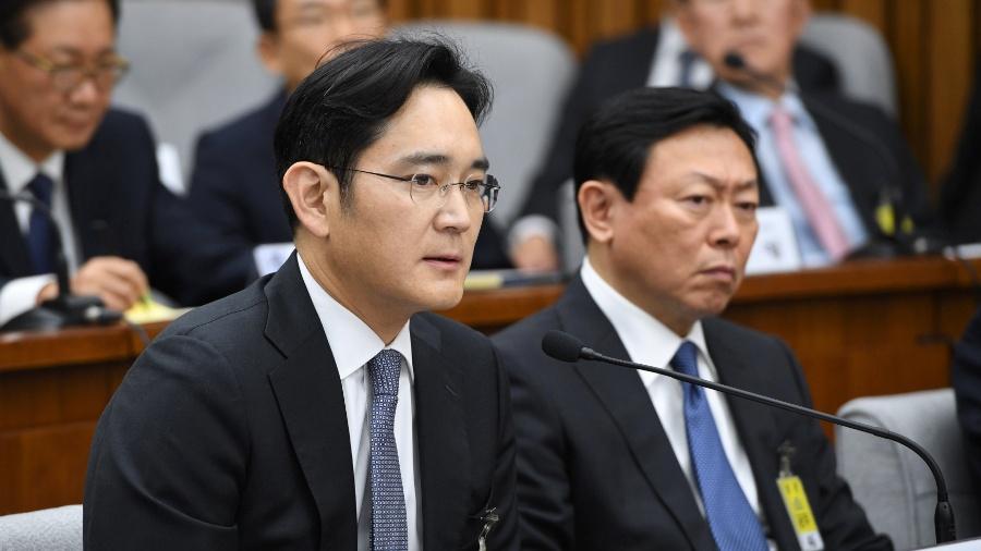Lee Jae-yong durante interrogatório na Assembleia Nacional de Seul em dezembro 2016 - Jung Yeon-Je/ Reuters