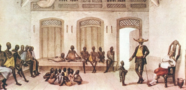 Gravura do pintor francês Jean Baptiste Debret (1768-1848) que retrata um mercado de escravos localizado na rua Valongo, no Rio de Janeiro - Reprodução