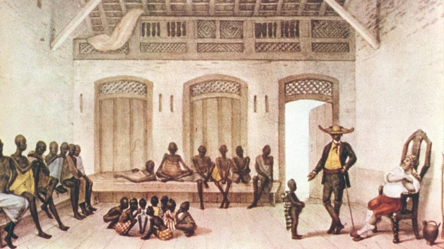 Gravura do pintor francês Jean-Baptiste Debret (1768-1848) retrata um mercado de escravos localizado na rua Valongo, no Rio de Janeiro - Reprodução