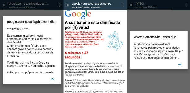 """Imagem mostra exemplos de anúncios pop-up enganosos com variações da mensagem """"Este celular está infectado"""""""