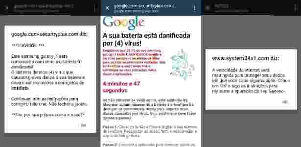 """Imagem mostra exemplos de anúncios pop-up enganosos com variações da mensagem """"Este celular está infectado"""" - Reprodução/PSafe"""
