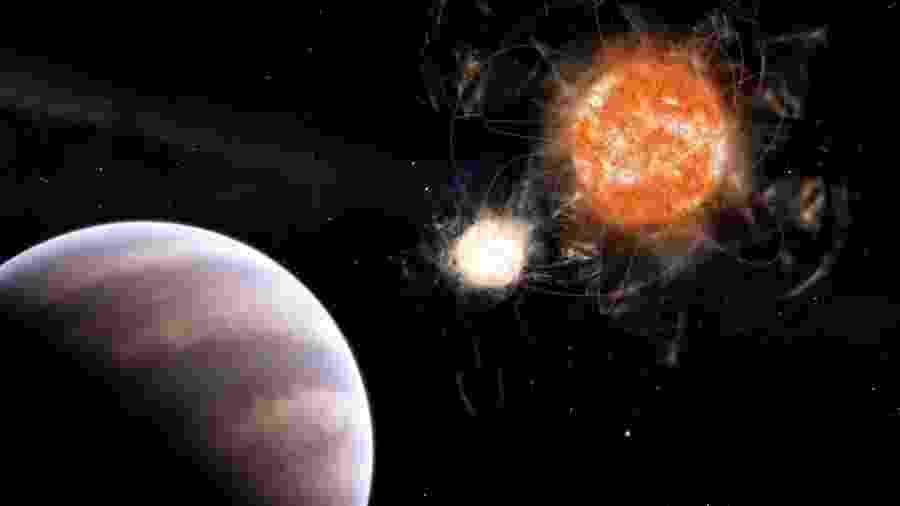 Ilustração do pesquisador Leandro Almeida mostra planeta gigante na constelação do Cisne, orbitando um sistema binário formado por uma estrela viva e outra morta - Leandro Almeida