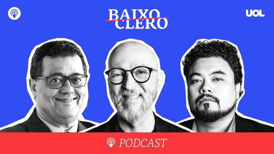 "Tales Faria, Josias de Souza e Leonardo Sakamoto apresentam o podcast semanal ""Baixo Clero"" - Arte/UOL"