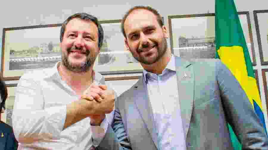 O vicê premiê italiano Matteo Salvini e o deputado Eduardo Bolsonaro - Reprodução/Twitter/@matteosalvinimi