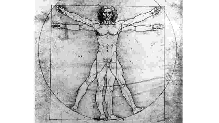 O desenho interpreta as teorias da proporção de corpo do arquiteto Vitrúvio - Getty Images