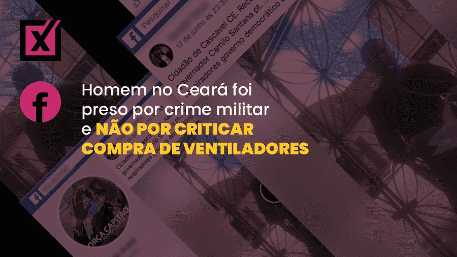 Vídeo enganoso nas redes sociais mostra entrega de mandado de prisão preventiva a um cabo da Polícia Militar, em Fortaleza - Arte/Comprova