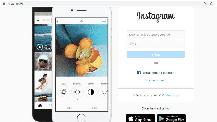 Passo 1 - acessar instagram via navegador Chrome - Reprodução - Reprodução