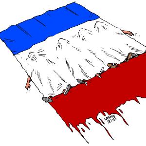 14.nov.2015 - O cartunista brasileiro Carlos Latuff também publicou em seu perfil nas redes sociais ilustrações que remetem aos ataques terroristas ocorridos em Paris - Carlos Latuff