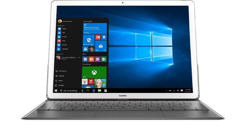 21.fev.2016 - O MateBook, da Huawei, tem uma tela de 12 polegadas (2560 x 1400 pixels) com um teclado removível e Windows 10. A empresa optou pelo processador Intel Core M da geração Skylake. A duração da bateria é de 10 horas de uso regular, e 9 horas rodando vídeo com qualidade HD, segundo a Huawei. O MateBook usa a nova porta USB-C, por isso há um acessório que traz portas adicionais para conectar o aparelho a entradas VGA, HDMI, USB 3.0 e Ethernet. Também foi lançada uma caneta stylus com 2.048 pontos de pressão