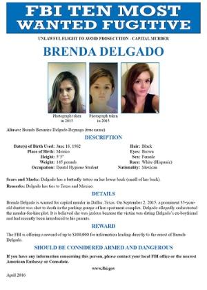 """Cartaz de """"mais procurada"""" de Brenda Delgado divulgado pelo FBI"""