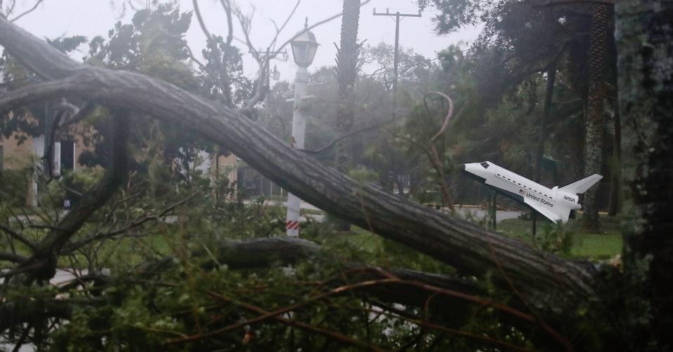 7.out.2016 - Uma réplica de ônibus espacial é vista em meio a árvores derrubadas pelos ventos trazidos pelo furacão Matthew, que se aproxima da costa da Flórida, em Cocoa Beach