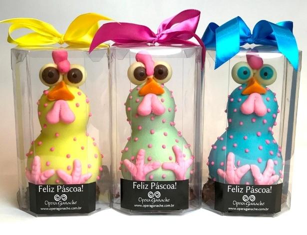 As galinhas coloridas, feitas com chocolate belga, são a marca registrada da confeitaria Opera Ganache, do chef Rafael Barros