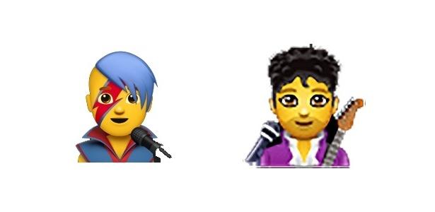 Emojis de cantor são diferentes na Apple e no WhatsApp, remetendo a David Bowie e Prince respectivamente