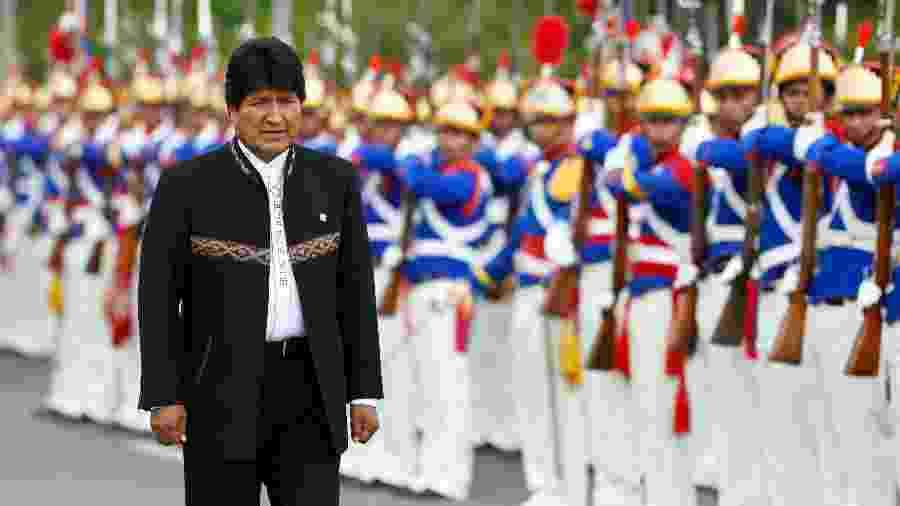 O Presidente da Bolívia, Evo Morales, durante visita ao Palácio do Planalto, em Brasília - Walterson Rosa/Framephoto/Estadão Conteúdo