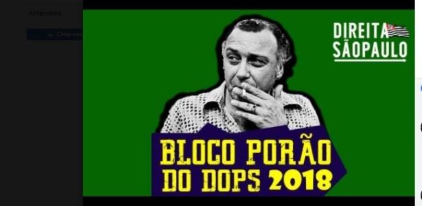 Bloco agendado para o sábado de carnaval traz a imagem do delegado Sérgio Paranhos Fleury na página que divulga o evento