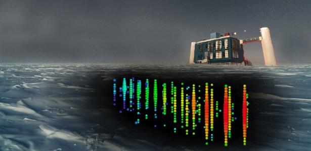 Imagem artística dos detectores de neutrinos enterrados na Antártida