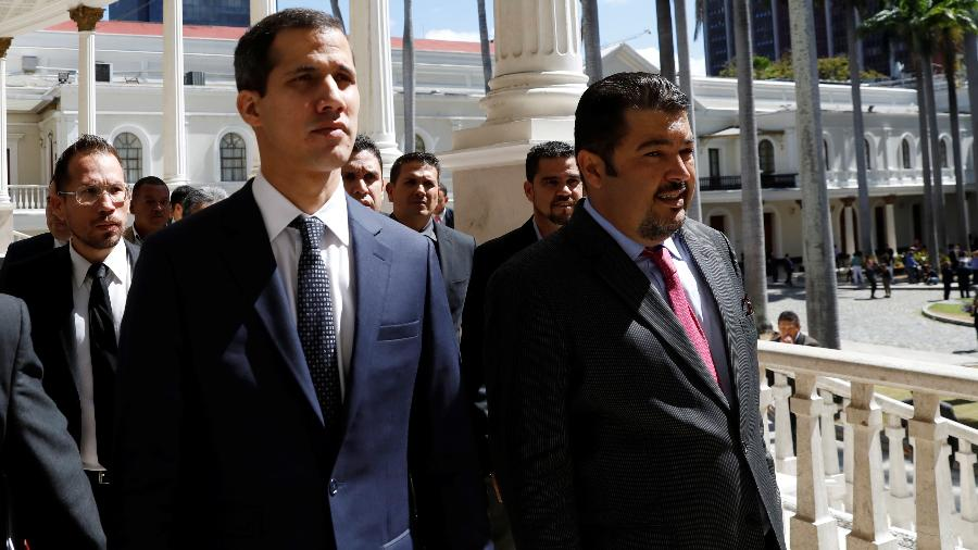 5.jan.2019 - Líder opositor Juan Guaidó ao lado de Roberto Marrero - Manaure Quintero/Reuters